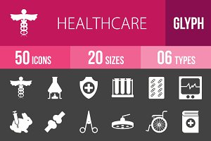 50 Healthcare Glyph Inverted Icons
