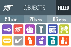 50 Objects Flat Round Corner Icons