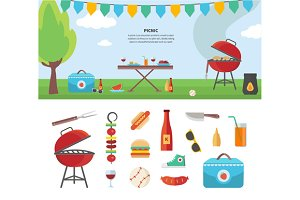 Banner and Icons of Picnic Items