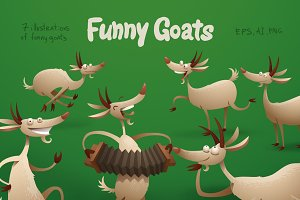 Funny Goats bundle, vector