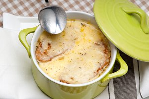 onions soup with melted cheese and toasts on top 09.jpg
