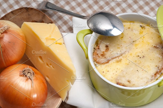 onions soup with melted cheese and toasts on top 12.jpg - Food & Drink