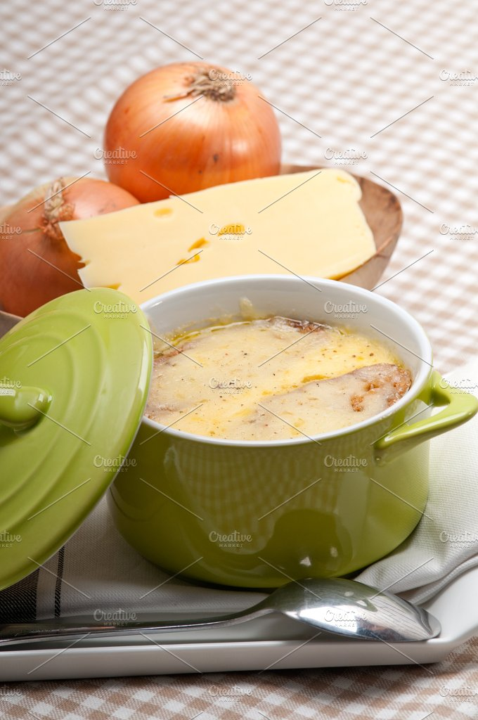 onions soup with melted cheese and toasts on top 36.jpg - Food & Drink