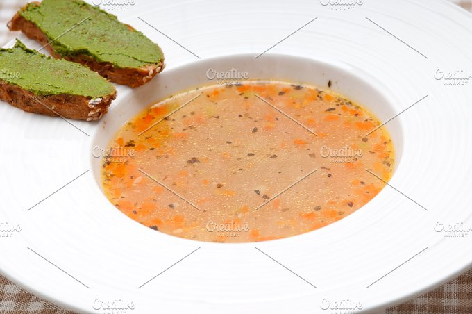 minestrone soup with pesto crostini on side 01.jpg - Food & Drink