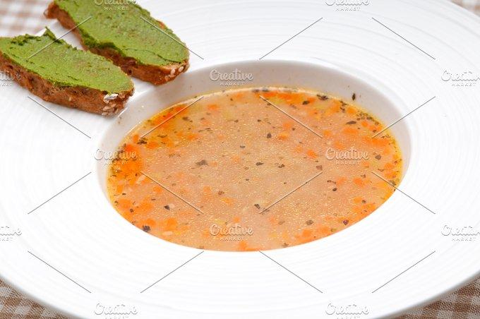minestrone soup with pesto crostini on side 02.jpg - Food & Drink