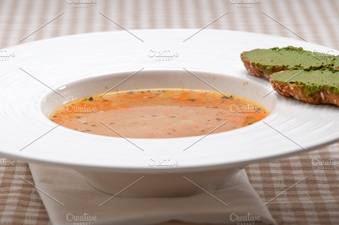 minestrone soup with pesto crostini on side 10.jpg - Food & Drink