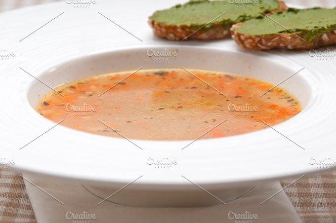 minestrone soup with pesto crostini on side 09.jpg - Food & Drink