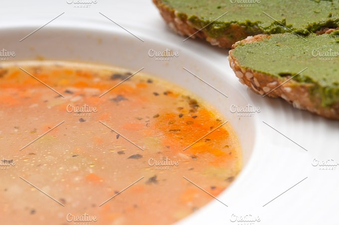 minestrone soup with pesto crostini on side 20.jpg - Food & Drink