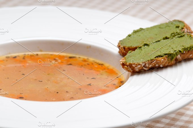 minestrone soup with pesto crostini on side 24.jpg - Food & Drink