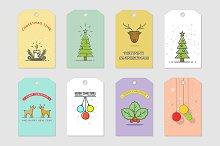 Christmas cards. Line art.