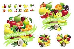 Fruit set+ heart&circle with ribbons
