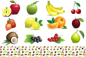 Fruit set + seamless fruit pattern