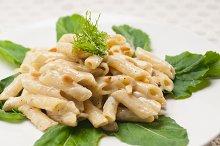 Italian pasta penne gorgonzola  and pine nut 03.jpg
