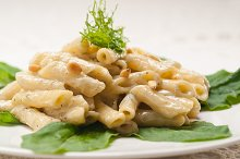 Italian pasta penne gorgonzola  and pine nut 02.jpg