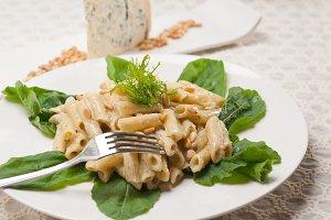 Italian pasta penne gorgonzola  and pine nut 07.jpg