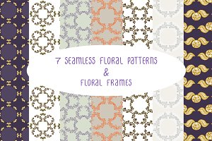 Floral seamless patterns & frames 1