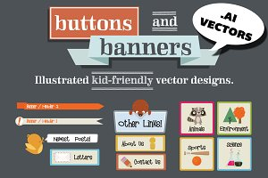 Hand Drawn Vector Buttons & Banners
