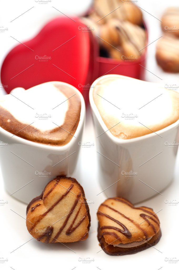 heart cookies and cappuccino 6.jpg - Food & Drink