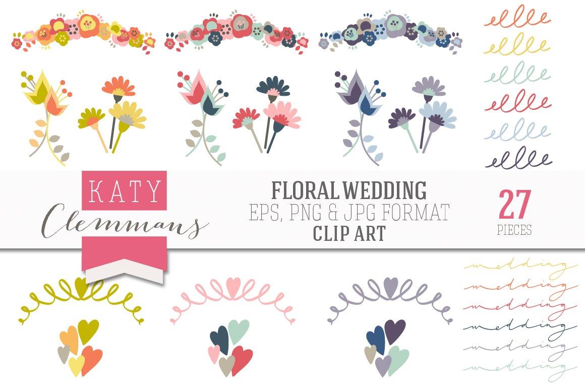Floral Wedding Clip Art Illustrations Creative Market