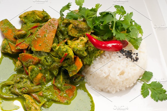 green curry chicken and vegetable stew with rice 06.jpg - Food & Drink