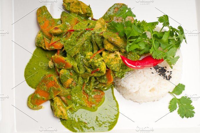 green curry chicken and vegetable stew with rice 12.jpg - Food & Drink