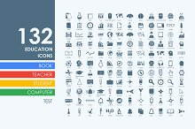 132 education icons