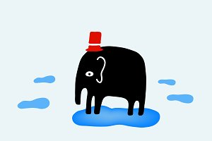 Elephant with red hat on clouds