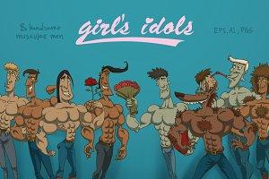 Girls Idols bundle, vector