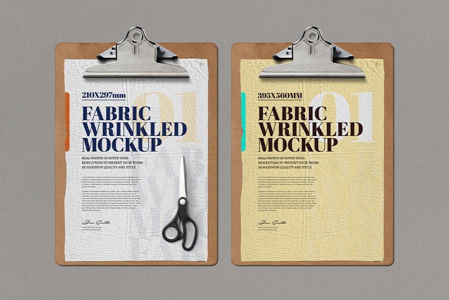 Clipboard Fabric Wrinkled Mockup