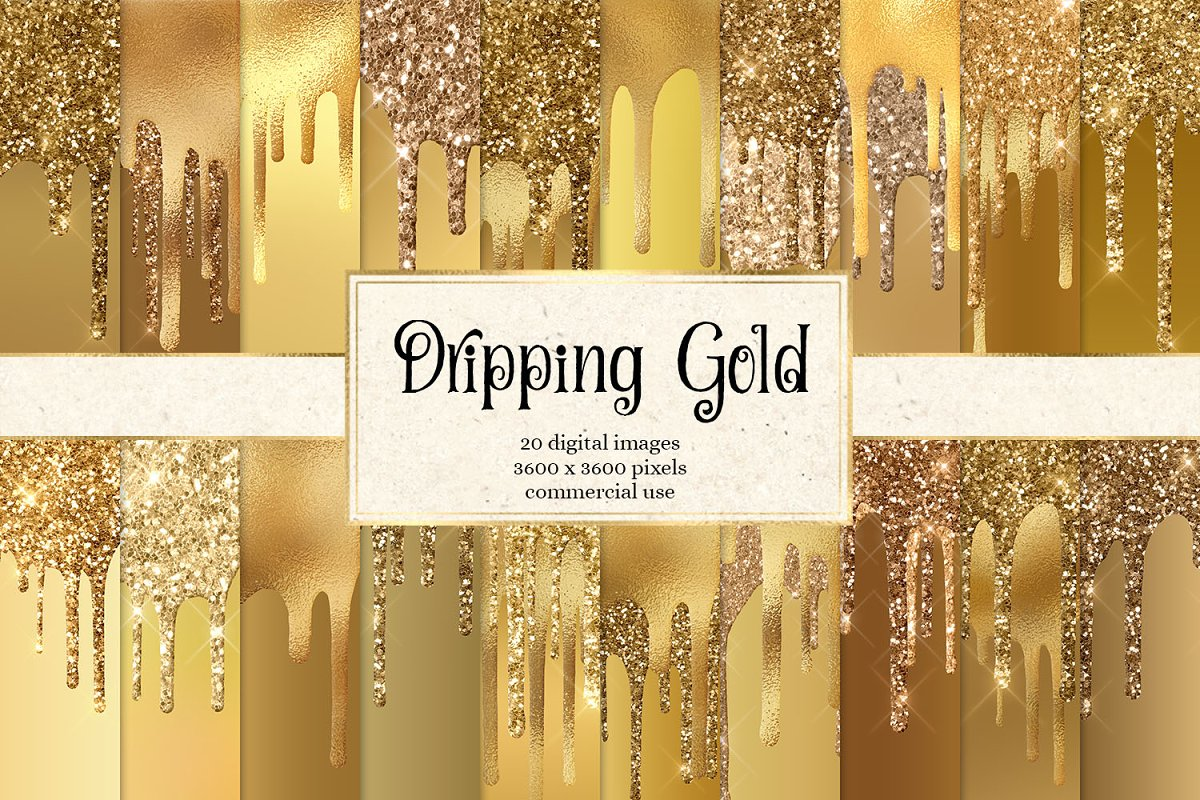Dripping Gold Digital Paper