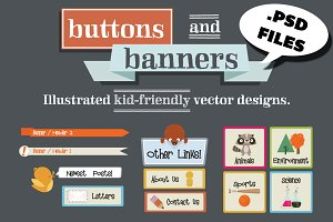 Hand Drawn PSD Buttons & Banners