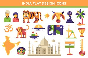 India Flat Design Icons Set
