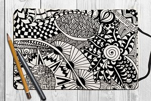 Hand drawn abstract floral pattern