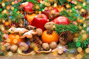 Christmas cookies, fruits and spices