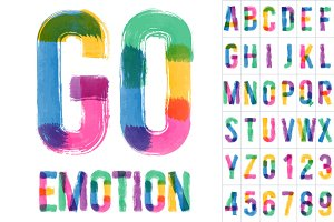 Vector colorful brush alphabet