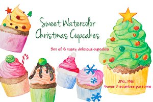 Watercolor cupcake set