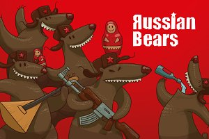 Russian Bears bundle, vector