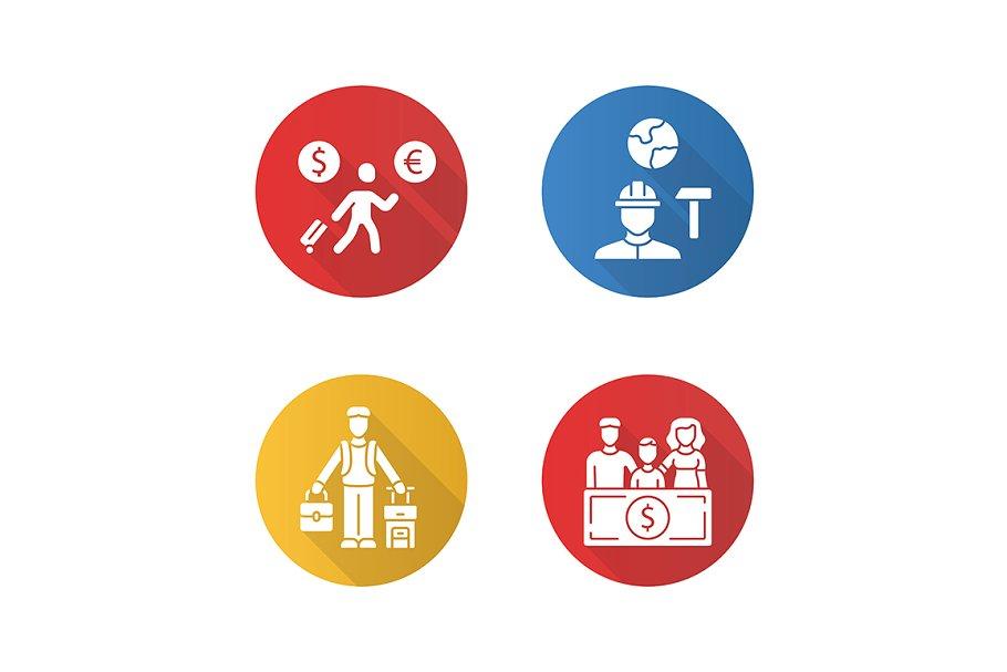 Immigrants flat design glyph icon