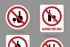 No alcohol and free area vector sign