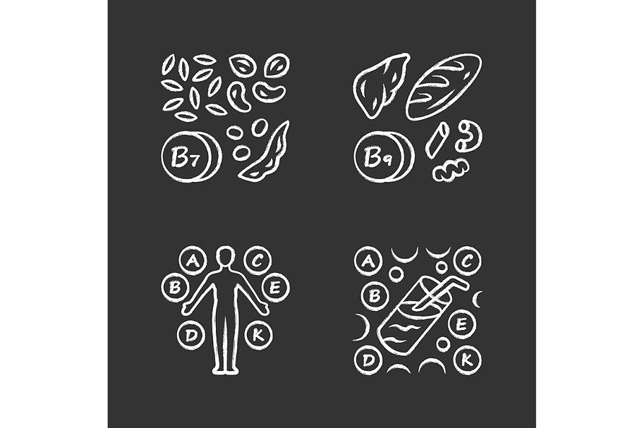 Vitamins chalk icons set