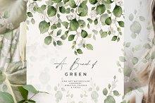 Watercolor Greenery Wreath Clipart