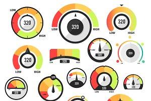 Speedometer icons or Circular gauges