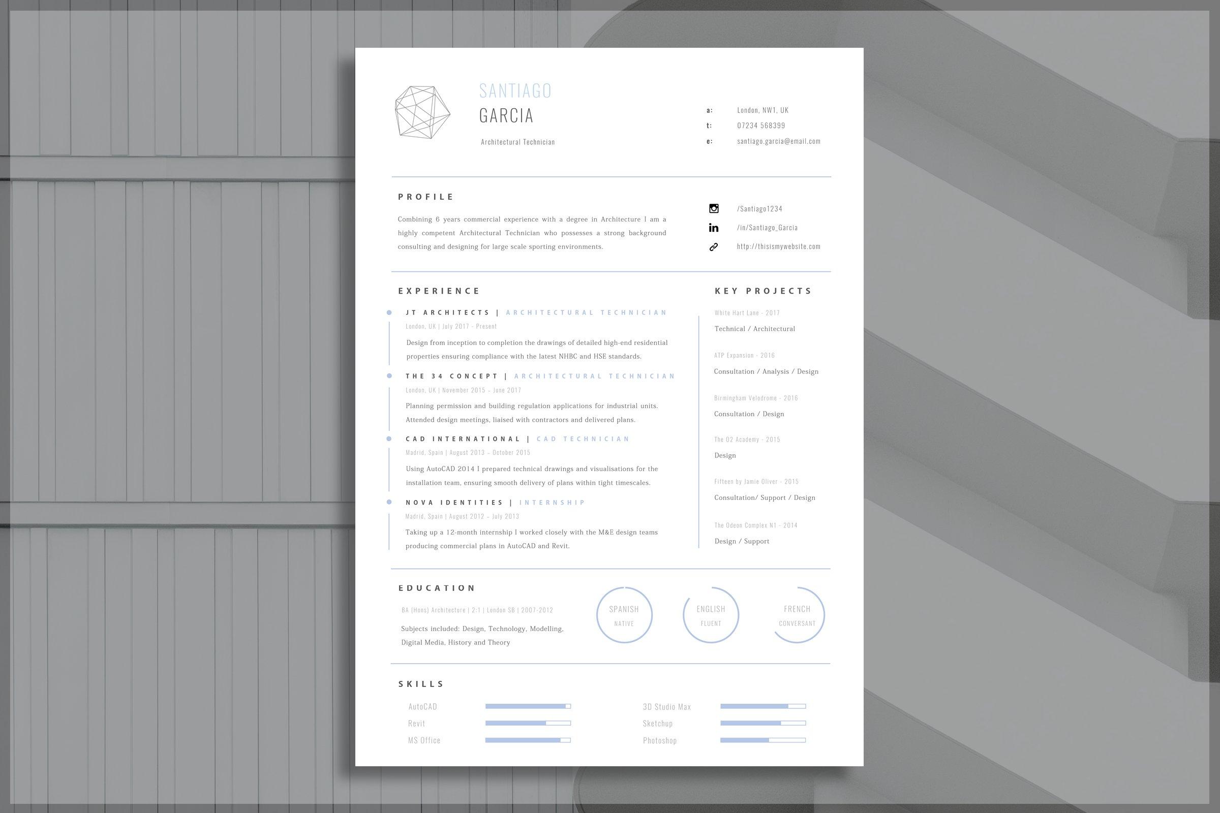 Architect Resume Template Creative Resume Templates Creative Market