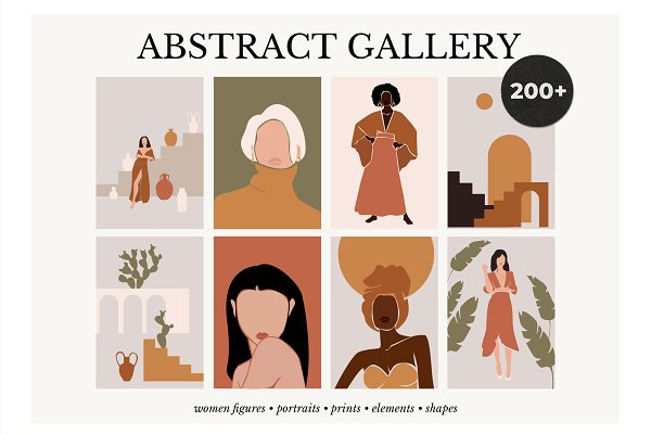 ABSTRACT GALLERY modern women prints