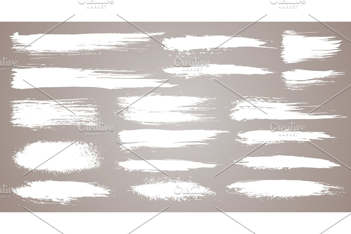 Vector set of grunge artistic brush