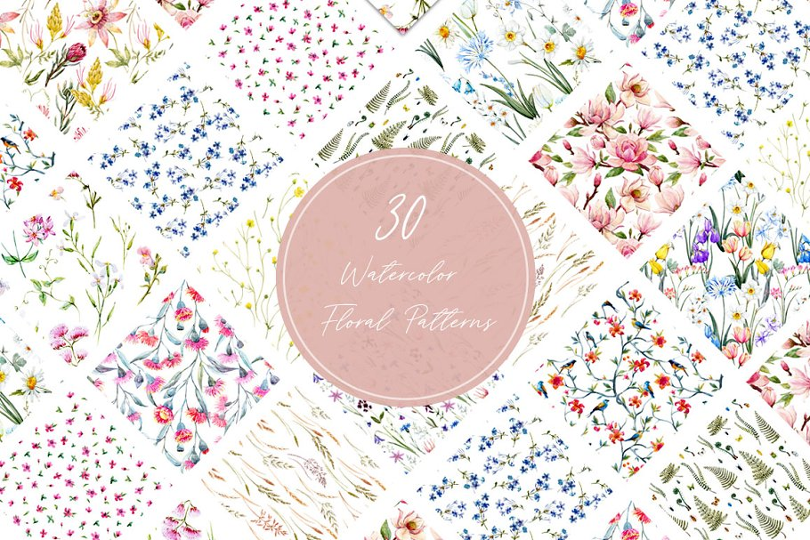 Watercolor floral patterns set JPEG