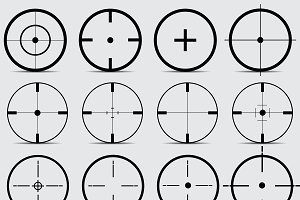Set of different sights on a gray