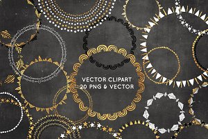 Black and Gold Wreath Clipart