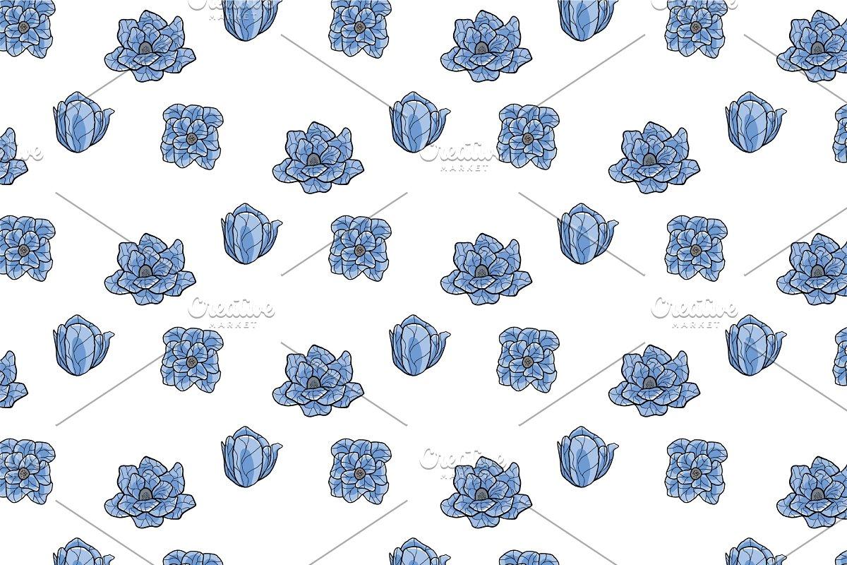 Blue Lotus Vector Seamless Pattern
