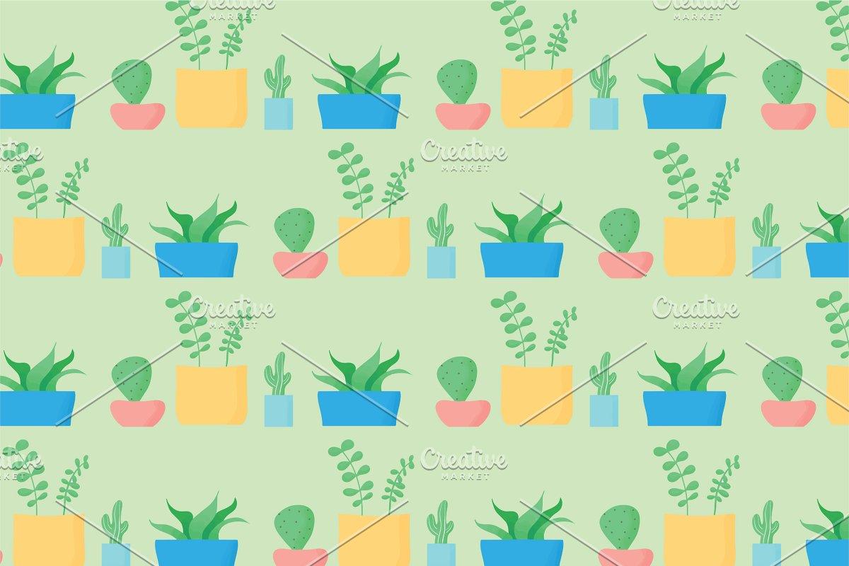 Minimalist Cactus Seamless Pattern